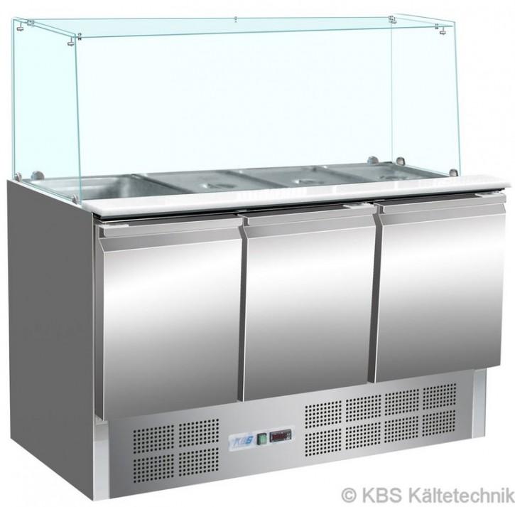 KBS Saladette mit drei Türen für 4x GN1/1 und geradem Glasaufbau