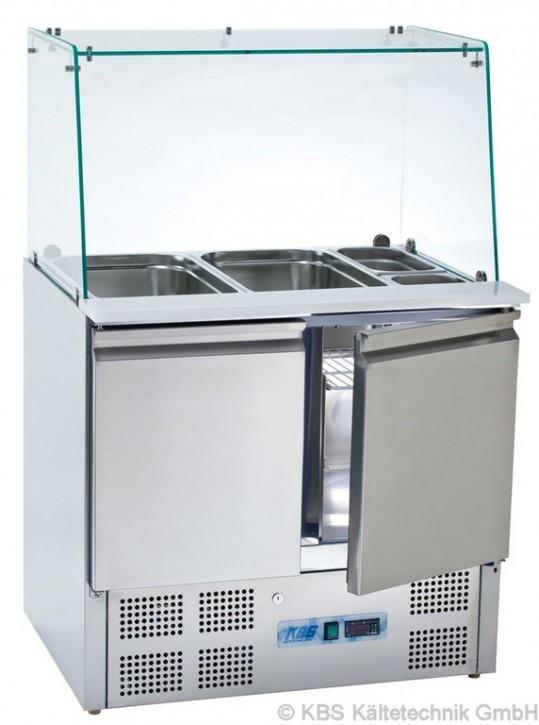 KBS Saladette mit Isolierung 45mm mit zwei Türen für 2x GN1/1 und 3x GN1/6 und geradem Glasaufbau