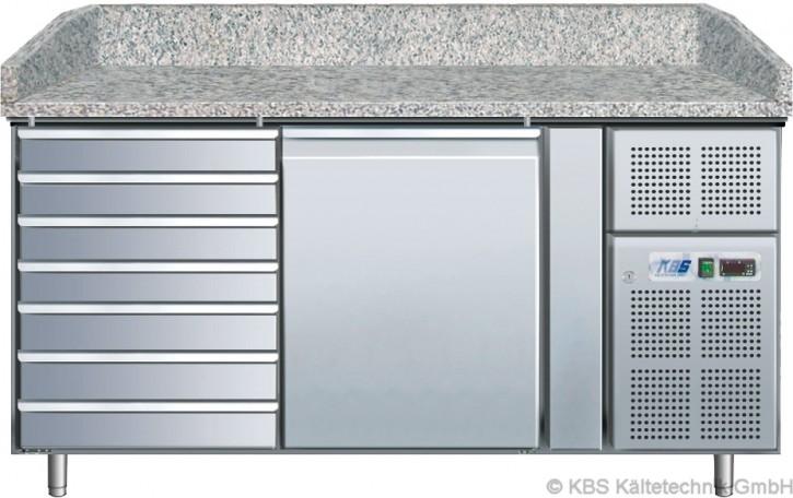 KBS Pizzakühltisch mit 1 Tür und 7 ungekühlten Teigschubladen