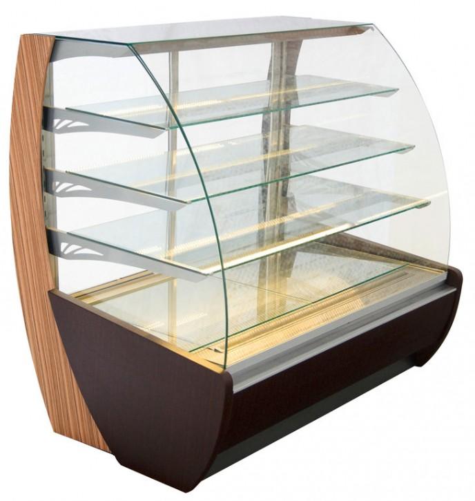 KBS Kuchenverkaufstheke mit Umluftkühlung, drei gekühlte mit LED beleuchtete Glasablagen und optional erhältlicher Luftentfeuchteregelung.