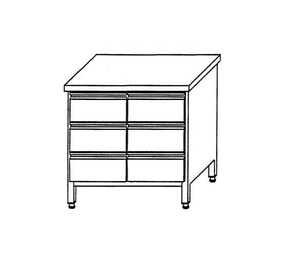 Edelstahl Schubladenschrank B 800 x T 700 x H 850 für 6 x GN 1/1 Behälter ohne Aufkantung