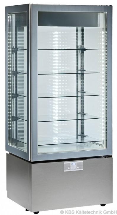 KBS Kühl-Tiefkühl-Panoramavitrine vierseitig verglast mit 5 Glasablagen, Unterbau silberfarbig