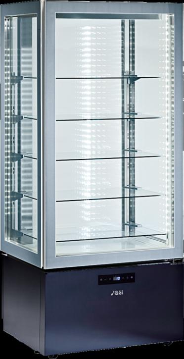 KBS Panoramavitrine vierseitig verglast mit 5 Glasablagen, zusätzlich LED-Leuchten an der Decke, Unterbau schwarz mit Touchscreensteuerung