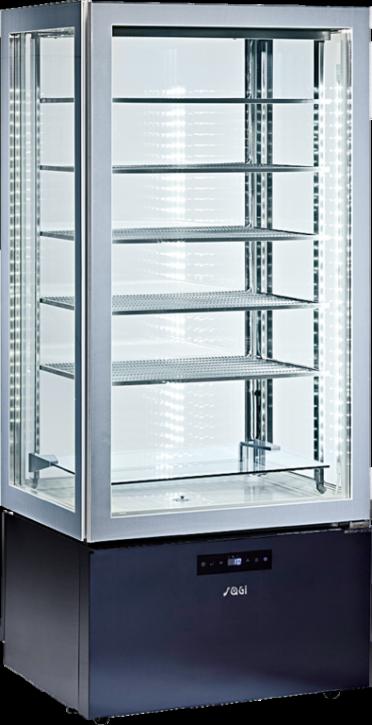 KBS Tiefkühl-Panoramavitrine viereitig verglast, zusätzlich LED-Leuchten an der Decke, Unterbau schwarz mit Touchscreensteuerung