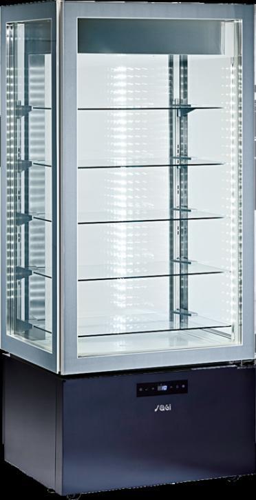 KBS Kühl-Tiefkühl-Panoramavitrine vierseitig verglast mit 5 Glasablagen, zusätzlich LED-Leuchten an der Decke, Unterbau schwarz mit Touchscreensteuerung