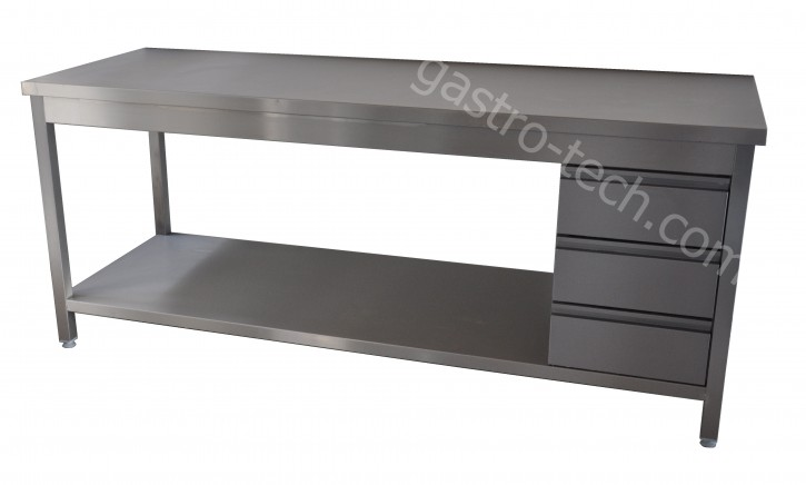 Edelstahl Arbeitstisch B 2300 x T 600 x H 850 mit Schubladenblock rechts allseitig abgekantet