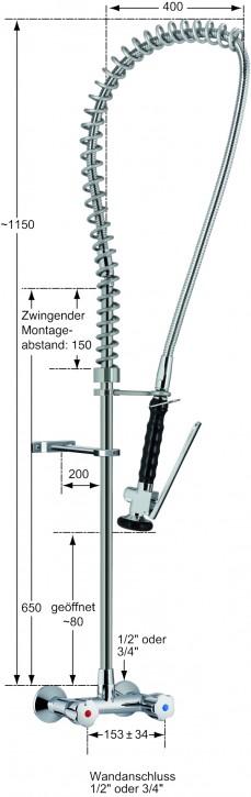 Knauss profi Geschirrspülbrausegarnitur mit Einlochbatterie 3/4