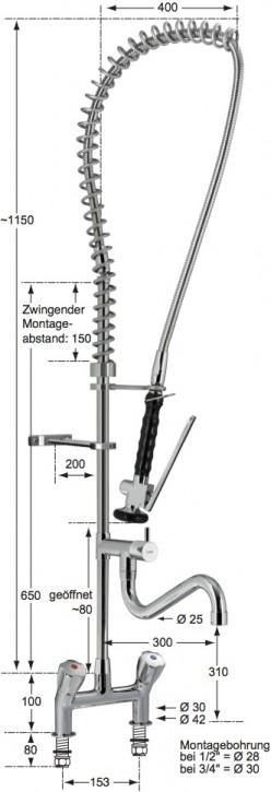Knauss profi Geschirrspülbrausegarnitur mit Zweiloch-Standbatterie 3/4