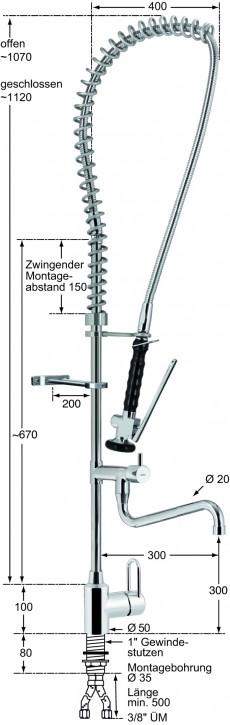 Knauss master Geschirrspülbrausegarnitur mit Einlochbatterie 1/2