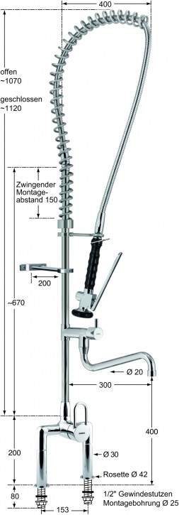 Knauss master Geschirrspülbrausegarnitur mit Standbatterie 1/2