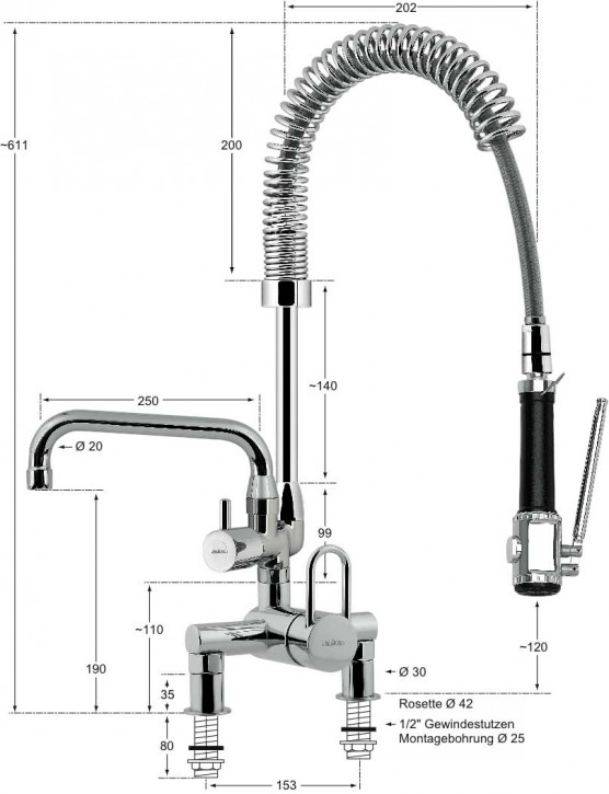 Knauss master Hebelmischer-Standbatterie 1/2