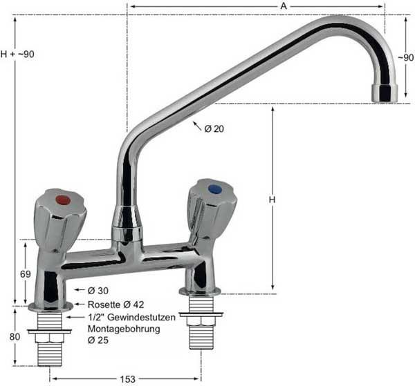Knauss gastro Zweiloch-Standbatterie 1/2