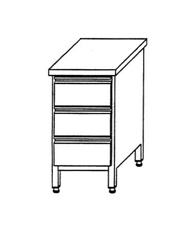 Edelstahl Schubladenschrank B 400 x T 700 x H 850 für 3 x GN 1/1 Behälter ohne Aufkantung