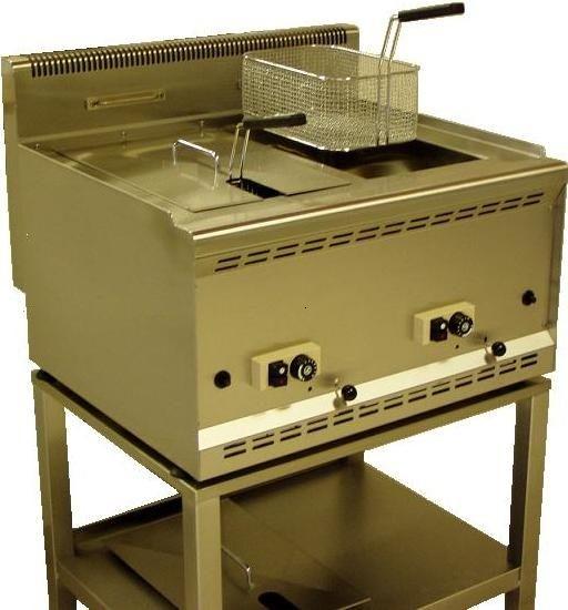 Gas Friteuse 2 x 15 Liter mit Steilbodentechnik, Propangasbetrieb