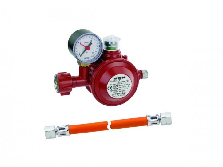 GOK Anschluß-Set 1,5 kg/h Druckregler für Kleinflaschenanschluß inkl. Gas-Schlauch