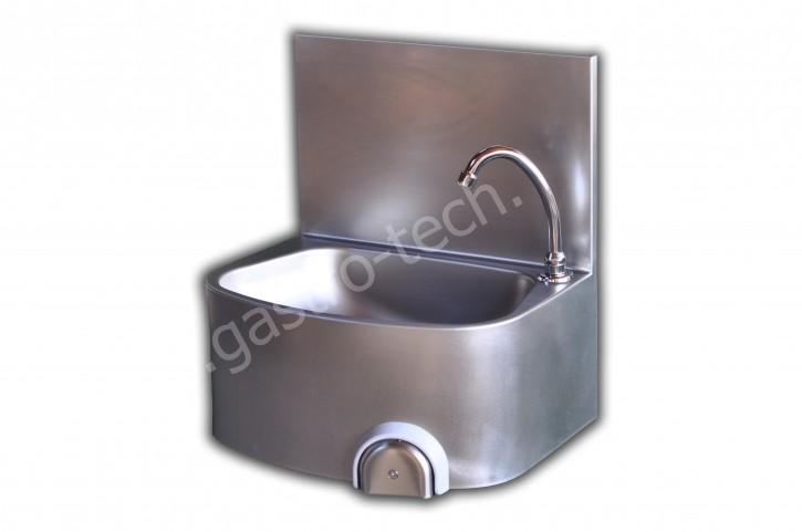 Handwaschbecken 480 x 360 mit Kniebedienung und Spritzschutz