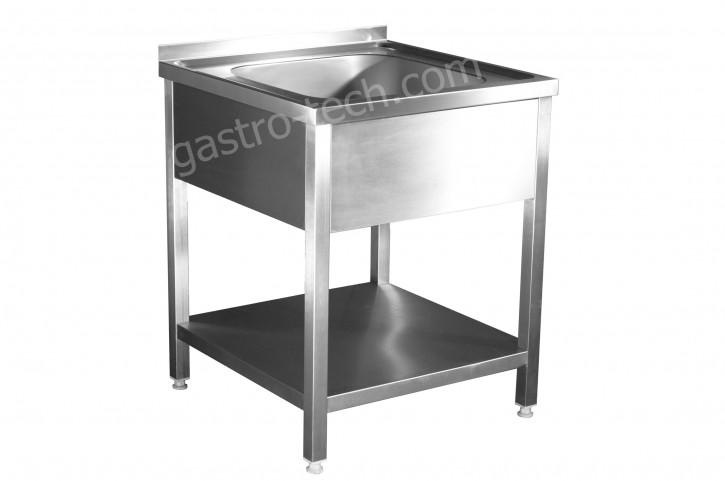 Edelstahl Spültisch 600 x 600 x 850 aus V2A, 1 Becken