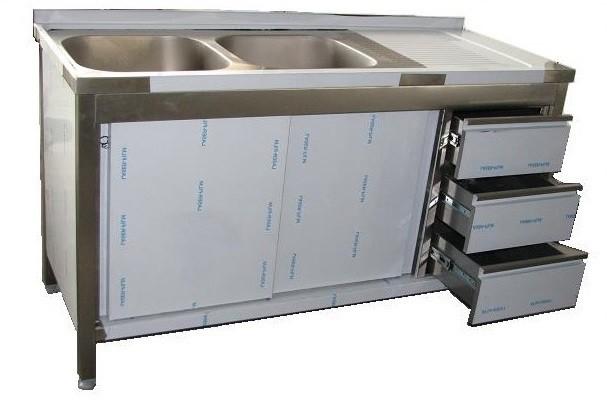 Edelstahl Spülschrank mit Schubladenblock B 1500 x 600 x 850 aus V2A, 2 Becken links