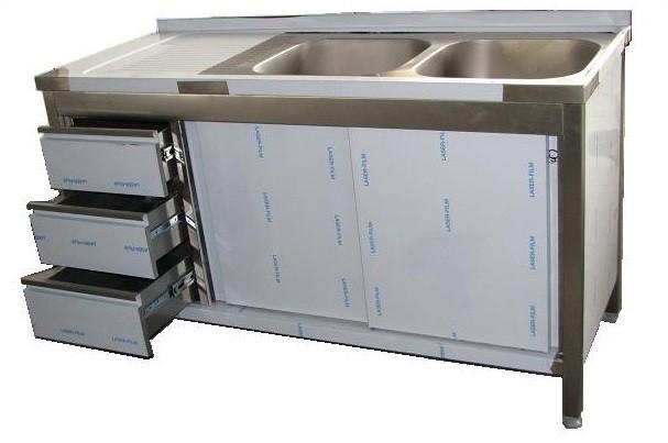 Edelstahl Spülschrank mit Schubladenblock B 1600 x 700 x 850 aus V2A, 2 Becken rechts
