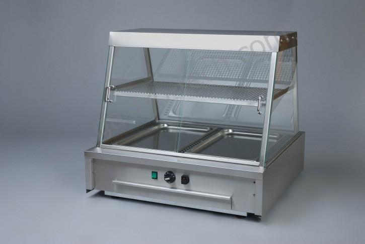 Wärmeaufsatzvitrine für 2 x GN 1/1 Einsätze mit Wasserschublade beidseitig bedienbar