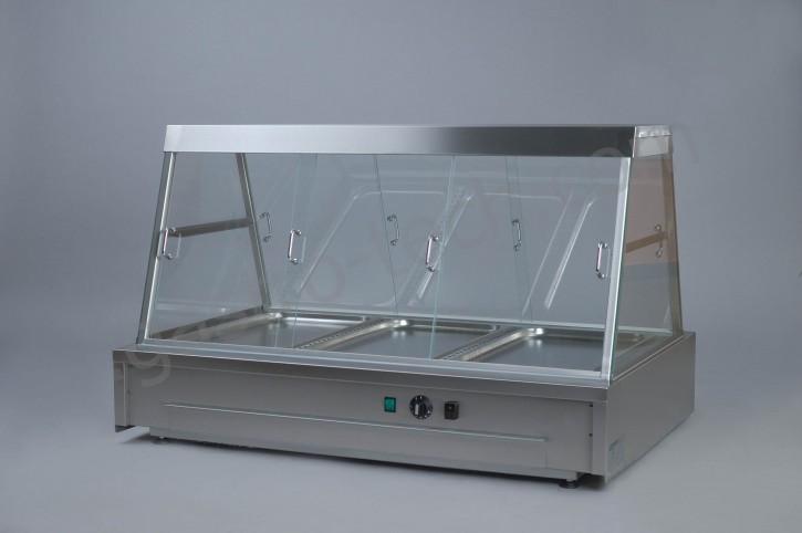 Wärmeaufsatzvitrine für 3 x GN 1/1 Einsätze mit Wasserschublade beidseitig bedienbar