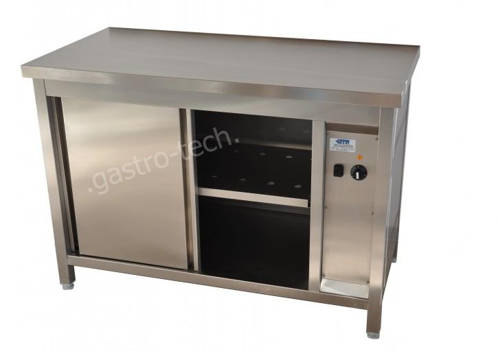 Edelstahl Wärmeschrank B 900 T 800 H 850 Aufkantung hinten 40 mm, Leistung 2 kw