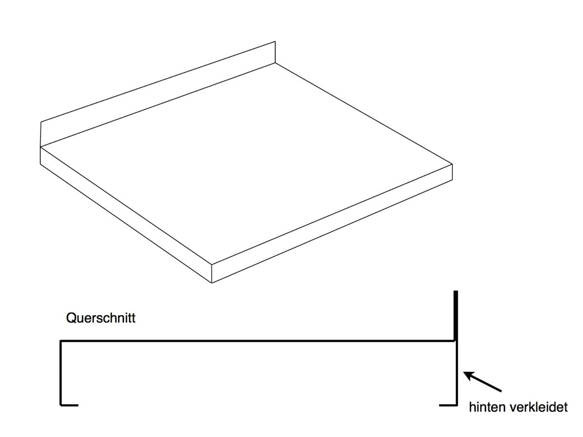 Arbeitsplatte B 1600 T 600 H 40 Aufkantung hinten 40 mm | {Küchenarbeitsplatte maße 48}
