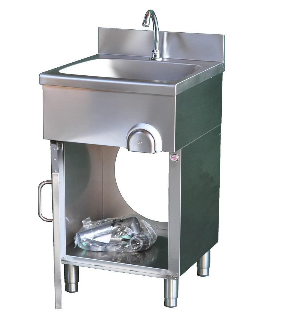 handwaschbecken 400 x 400 x 850 mit kniebedienung unterschrank waschbecken ebay. Black Bedroom Furniture Sets. Home Design Ideas